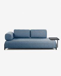 3θ καναπές με μεγάλο δίσκο Compo 252 εκ, μπλε