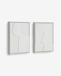 Σετ 2 πίνακες Beija 32 x 42 εκ, λευκό