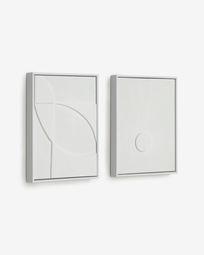 Σετ 2 πίνακες Brunella 32 x 42 εκ, λευκό
