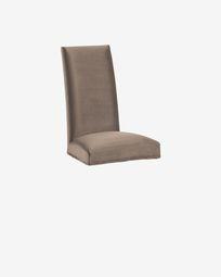 Κάλυμμα καρέκλας Freda, γκρι-μπεζ βελούδο