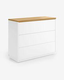 Abilen 3-drawer oak veneer and white lacquer chest of drawers 90 x 75 cm FSC 100%