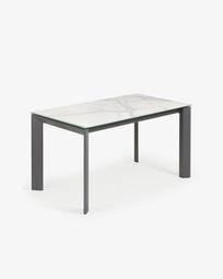 Ανοιγόμενο τραπέζι Axis 140 (200) εκ λευκή πορσελάνη Kalos και πόδια ανθρακίτη