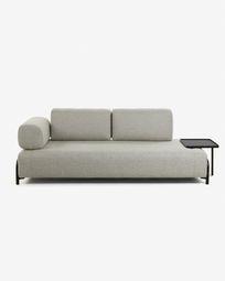 3θ καναπές Compo με μεγάλο δίσκο 252 εκ, μπεζ