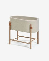 Adara moses basket with white fleece and solid beech legs 69 x 46 cm