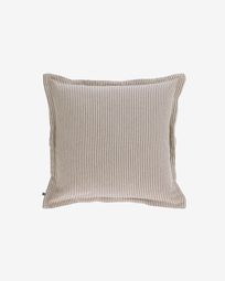 Aleria cotton cushion cover with brown and white stripes 45 x 45 cm
