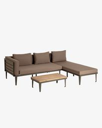 Pascale set of chaise longue and aluminium side table in grey and acacia wood (100% FSC)