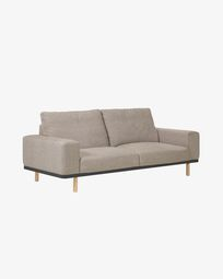 3θ καναπές Noa με πόδια σε φυσικό φινίρισμα 230 εκ, μπεζ