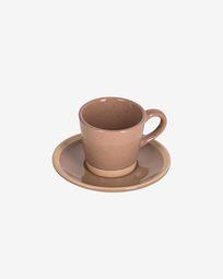 Κεραμική κούπα καφέ με πιατάκι Tilla, ανοιχτό καφέ