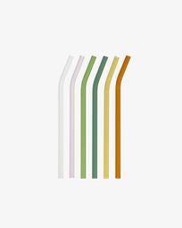 Σετ 6 γυάλινα καλαμάκια Gillia, πολύχρωμα