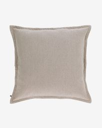 Βαμβακερό κάλυμμα μαξιλαριού Aleria, καφέ και λευκές ρίγες 60 x 60 εκ