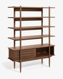 Carolin in veneered walnut shelf unit 130 x 169 cm