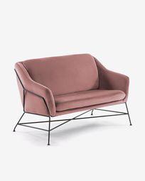 Καναπές Brida 128 εκ, ροζ βελούδο