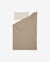 Indalina duvet cover, sheet & pillowcase set in gingham GOTS-certified cotton 60 x 120 cm