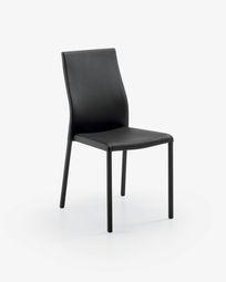 Καρέκλα Abelle, μαύρο συνθετικό δέρμα