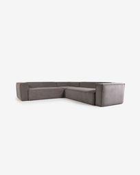 Γωνιακός καναπές 4θ Blok, 290 x 290 εκ, γκρι κοτλέ