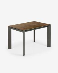 Extendable table Axis 120 (180) cm porcelain Iron Corten finish anthracite legs