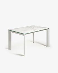 Ανοιγόμενο τραπέζι Axis 140 (200) εκ, λευκή πορσελάνη Kalos και γκρι πόδια