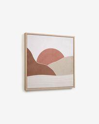 Πίνακας Izem 40 x 40 εκ, ήλιος και καφέ βουνά