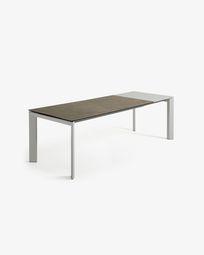 Extendable table Axis 160 (220) cm porcelain Vulcano Ash finish gray legs