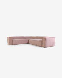 Γωνιακός καναπές 4θ Blok, 290 x 290 εκ, ροζ κοτλέ