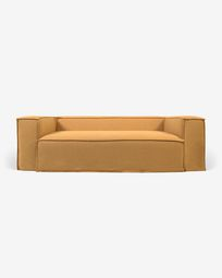 2θ καναπές Blok με αποσπώμενα καλύμματα, μουσταρδί λινό, 210 εκ
