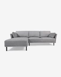 Gilma grey 3-seater sofa with left-hand chaise longue and legs with dark finish 260 cm