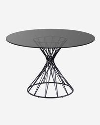 Στρογγυλό γυάλινο τραπέζι Niut Ø 120 εκ, πόδια από ατσάλι και μαύρο φινίρισμα