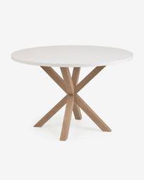 Πλήρες στρογγυλό τραπέζι Argo σε ατσάλινα πόδια από λευκό μελαμίνη effect 119 cm