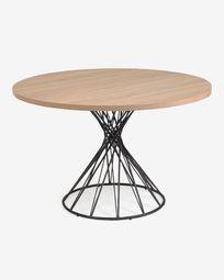 Στρογγυλό τραπέζι Niut σε φυσικό φινίρισμα μελαμίνη ατσάλινα πόδια μαύρο φινίρισμα Ø 120cm