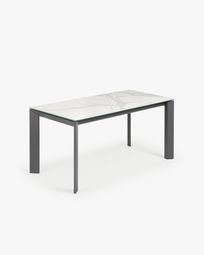 Extendable table Axis 160 (220) cm porcelain Kalos White finish anthracite legs