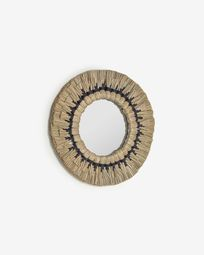 Akila round mirror made from green natural fibres and black cotton cord, 40 cm