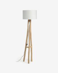 Lucelia white and solid teak floor lamp