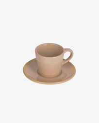 Κεραμική κούπα καφέ με πιατάκι Tilla, μπεζ