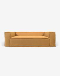3θ καναπές Blok με αποσπώμενα καλύμματα, μουσταρδί λινό, 240 εκ