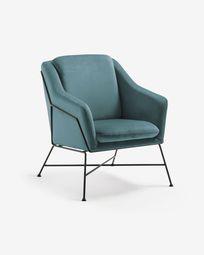 Turquoise velvet Brida armchair