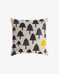 Κάλυμμα μαξιλαριού με μικρά δέντρα Saori 100% οργανικό βαμβάκι (GOTS) 45 x 45 εκ, μαύρο