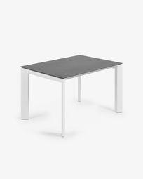 Extendable table Axis 120 (180) cm porcelain Vulcano Roca finish white legs