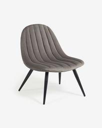 Καρέκλα Marlene, γκρι βελούδο, πόδια σε ατσάλι σε μαύρο φινίρισμα