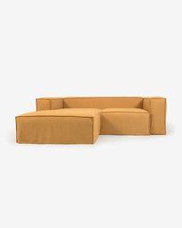2θ καναπές Blok με ανάκλινδρο αριστερά και αποσπώμενα καλύμματα, μουσταρδί λινό, 240εκ