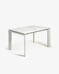 Extendable table Axis 160 (220) cm porcelain Kalos white finish gray legs