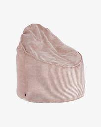 Pink corduroy Wilma pouf Ø 80 cm