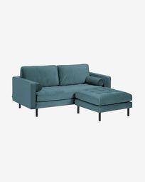 Debra 2-seater sofa with footrest in turquoise velvet 182 cm