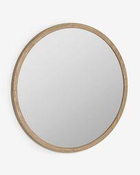 Στρογγυλός καθρέπτης Alum 100 εκ, μασίφ ξύλo mindi