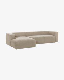 3θ καναπές με ανάκλινδρο αριστερά Blok 330 εκ, μπεζ