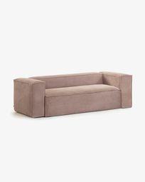 3θ καναπές Blok 240 εκ, ροζ βελούδο