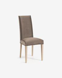 Καρέκλα Freda, γκρι-μπεζ βελούδο και φυσικό