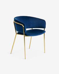 Καρέκλα Runnie, μπλε βελούδο