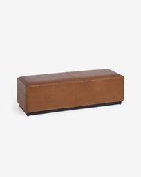 Cesia 120 cm brown buffalo hide bench with wooden base