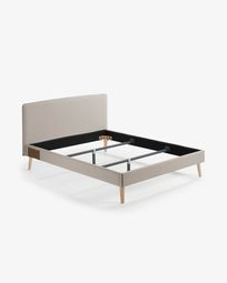 Dyla bed in beige with solid beech legs 160 x 200 cm
