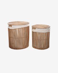 Σετ 2 καλάθια απλύτων Diadorin, 100% ρατάν σε φυσικό φινίρισμα